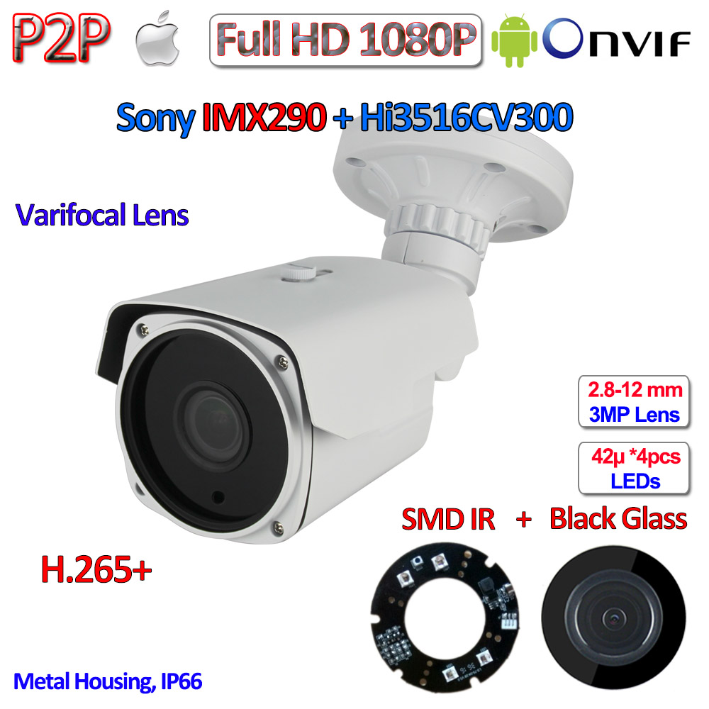 H.265 H.265+ Outdoor 1080P IP Cam IMX290 Sensor 2MP Camera Hisilicon Night Vision P2P telecamere IP, ONVIF, Varifocal Lens, WDR h 265 1080p ip cctv 2 0mp onvif 2 4 imx290 camera ip p2p night vision ip camera poe ir cut h 264 2 8 12mm 3mp hd lens wdr