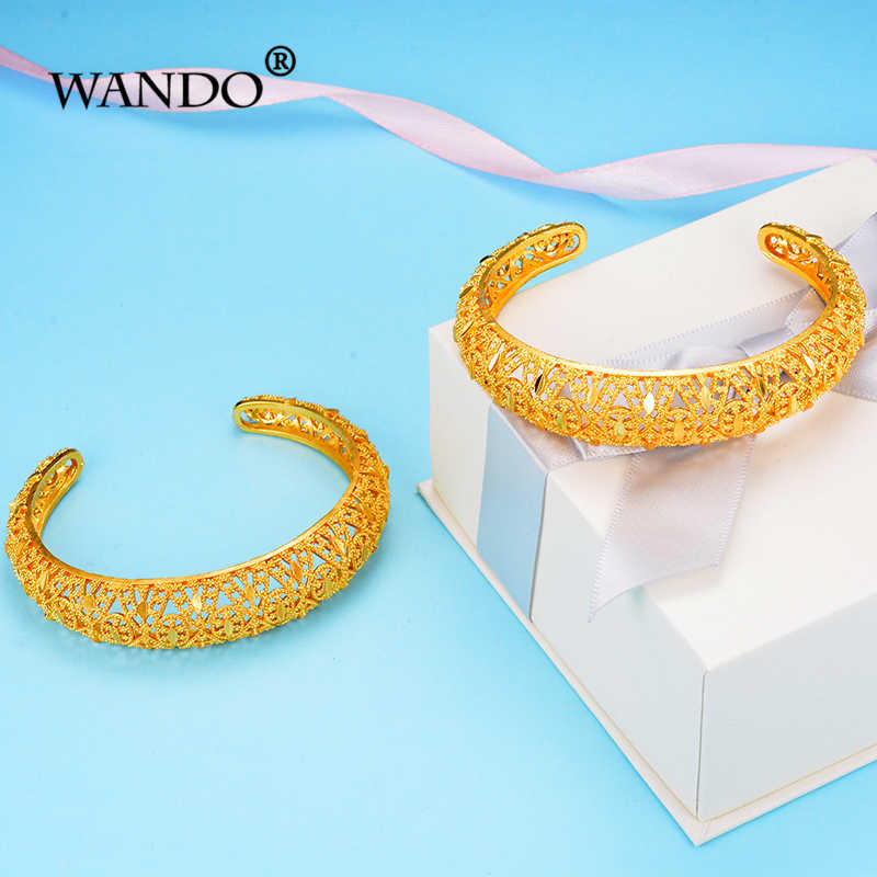 WANDO 2pcs india Africa Ethiopia Gold Colour Bangle jewelry Hand Chain Fashion Women Hollow Bracelets Wedding Jewelry Gifts b149