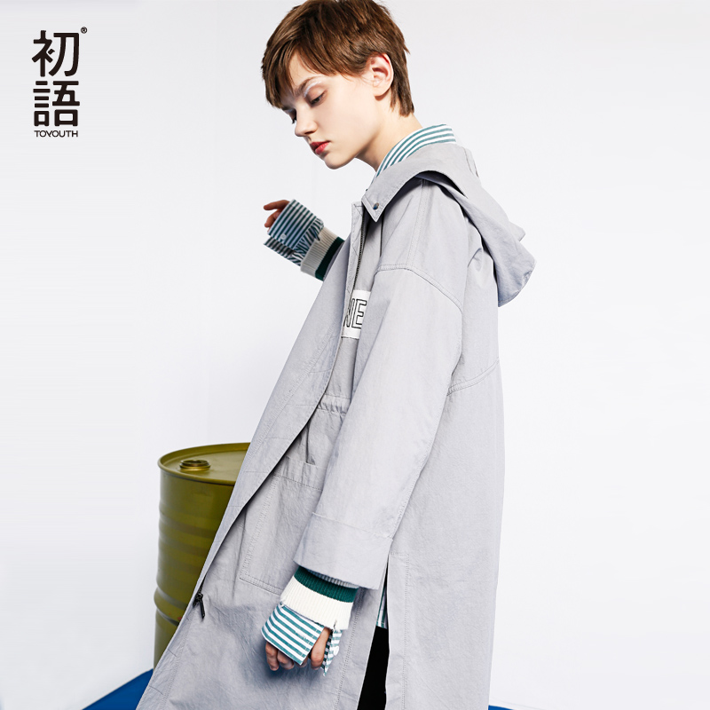 Toyouth European Style 2018 New Womens Open Slit Awesome Casual Hooded   Trench   Coat Oversize Zipper Up Washed Outwear Coat