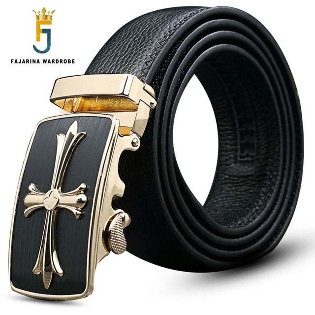 Estilo Formal de los hombres Marca Famosa Correa de cuero de Vaca Ocasional Cruz Automático para Los Hombres Cinturones de Cuero Genuino 3.5 cm ancho NW0054
