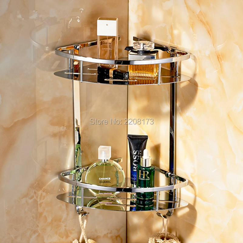 New Arrival Bathroom Accessories Bathroom Corner 2-Tier Triangular Tub and Shower Caddy Basket, Polished Stainless Steel black bathroom shelves stainless steel 2 tier square shelf shower caddy storage shampoo basket kitchen corner shampoo holder