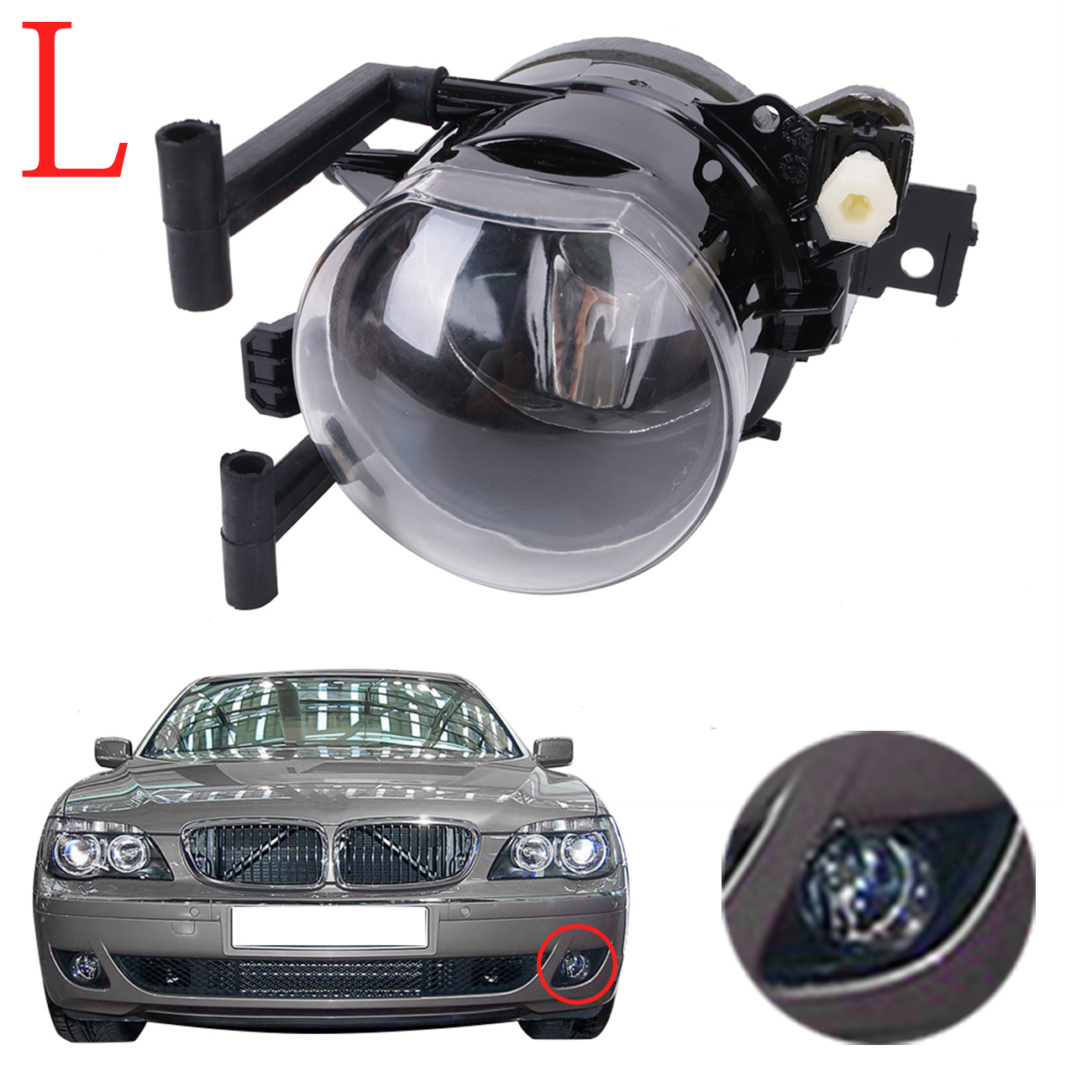 Left Side Car Lower Fog Light Lamp Foglamp For BMW 7 Series 745i 745Li 750i 750Li 760i 760Li E65 E66 Facelift 2005-2008 #W082-L