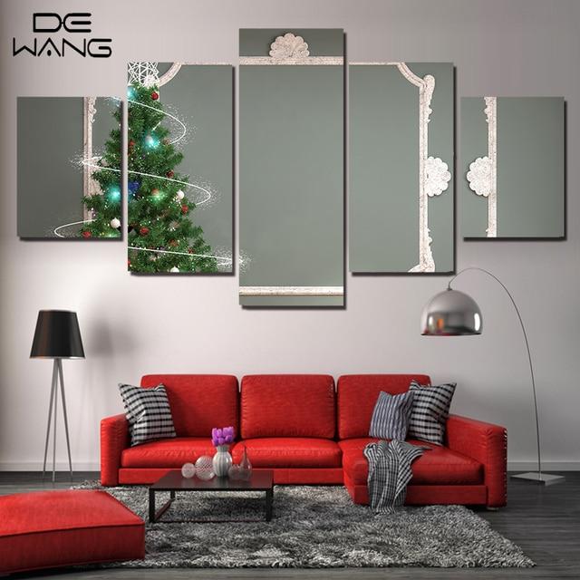 Kerstboom Schilderen Canvas Muur Frame Foto Voor Woonkamer 5 ...