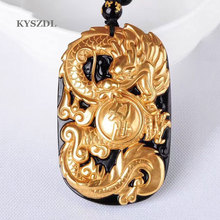 Wholesale gold-plated + natural obsidian carved dragon pendants fashion men and women crystal zombie dragon pendant jewelry gift wholesale fine purple crystal pendants carved gold fish pendant sweater chain necklace luck for women men noble jewelry