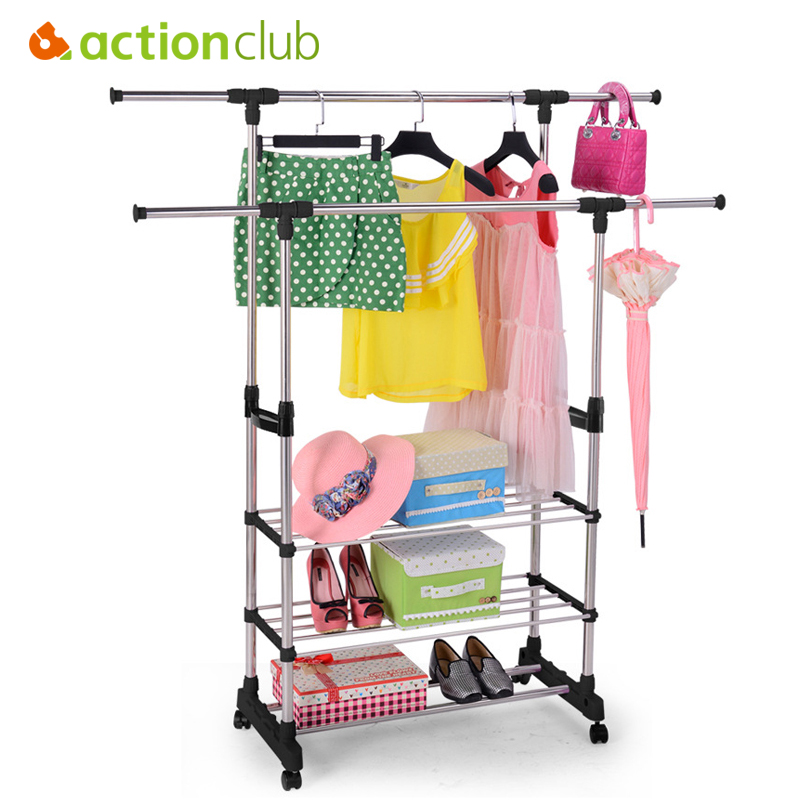 Actionclub Stainless Steel Double Rod Drying Rack With Shoe Rack Towel Rack Balcony Indoor Floor Standing Drying Racks ShelfActionclub Stainless Steel Double Rod Drying Rack With Shoe Rack Towel Rack Balcony Indoor Floor Standing Drying Racks Shelf