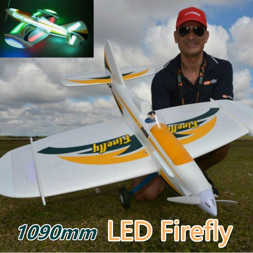FMS 1090 мм светодиодный Светлячок Ночная навигация RC самолет 6CH с закрылками 3 S прочный EPO PNP хобби модель самолет авион спортивные