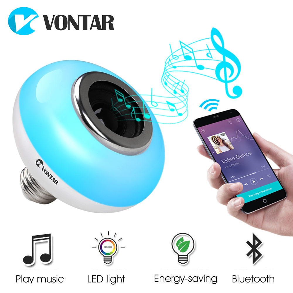 VONTAR E27 Smart RGB Wireless Bluetooth Speaker Bulb Music Player Dimmable portable speakers LED smart light No White Light