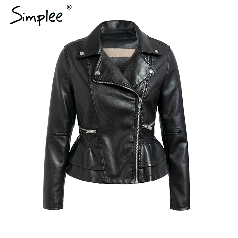 Simplee Faux   leather   jacket coat women Zipper pockets moto jacket coat Fashion streetwear ladies   leather   jackets outwear coat