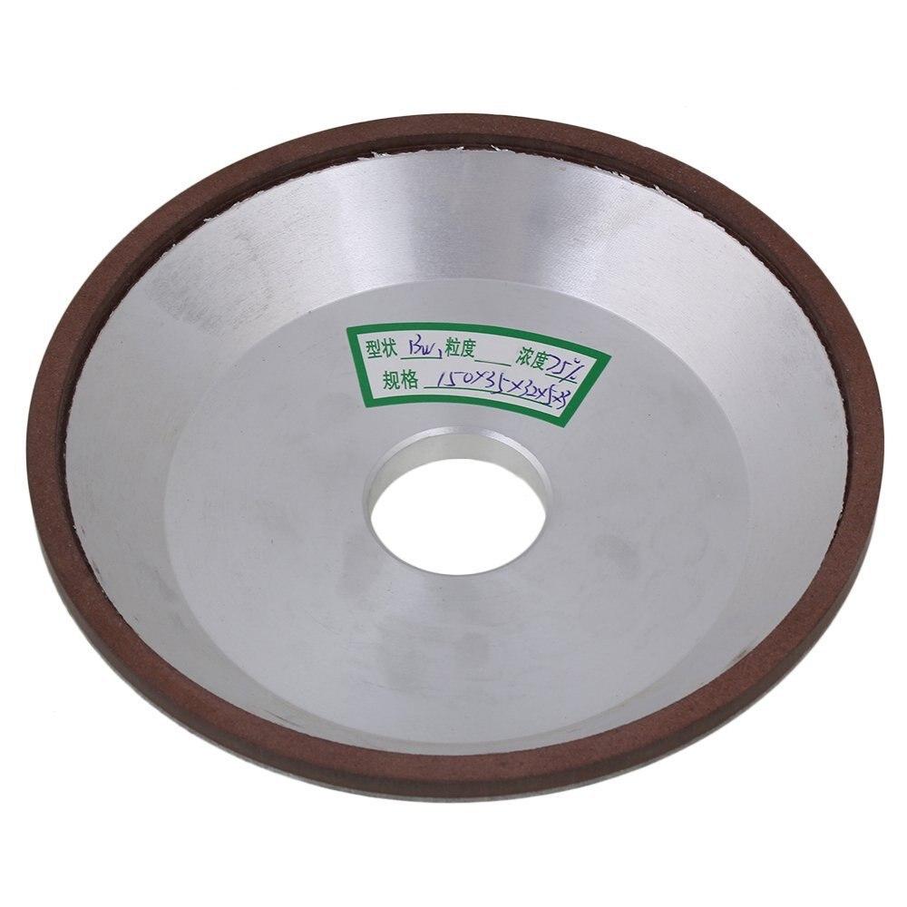 150x35x32x5mm Cup Bowl Shape Silver Diamond Aluminum Resin Grinder Grinding Wheel Cutter Grinder Tool 180# Grit