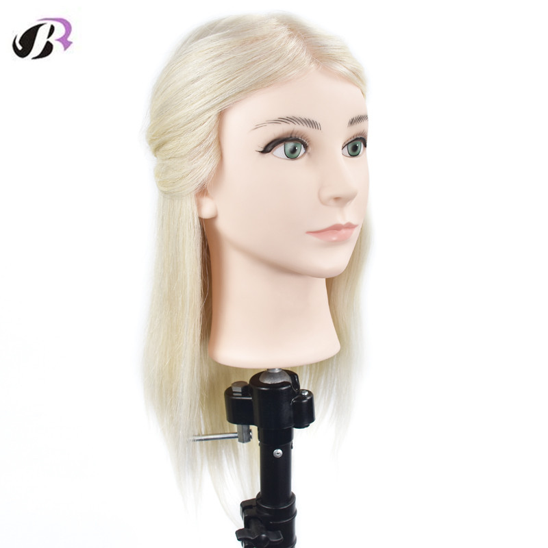 New Arrival Blonde 16inch Training Head With 100% Natural Human Hair Hairstyles Dummy Mannequin Head Hairdressing Manikin Dolls