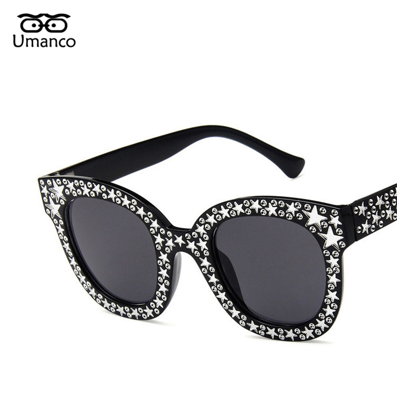 c54b4bb12fd73 Umanco Encantador Estrela Quadro Do Gato Olho Óculos De Sol Das Mulheres Do  Vintage Da Moda Óculos De Sol de Plástico Cores Deslumbrantes Tons Óculos  ...