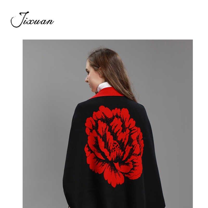 Memberikan Bros Merek Kasmir Pashmina Wanita Bunga Fashion Rumbai Syal Wanita dengan Lengan Panjang Berkualitas Tinggi Ponco Jubah