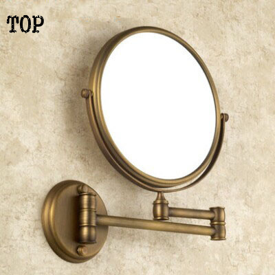 Antique bathroom 8 inch mirror magnifying mirror with wall mounting cosmetic mirror bathroom illuminated mirrors large 8 inch fashion high definition desktop makeup mirror 2 face metal bathroom mirror 3x magnifying round pin 360 rotating