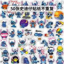 Disney stitch adesivos 50 pçs/lote sem repetição etiqueta pvc pegatinas tamanho misto 5 10cm dos desenhos animados adesivo autocollant mala stikers