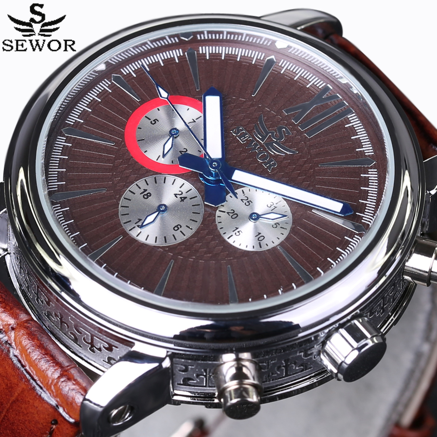 relogio masculino SEWOR Men Military Automatic mechanical Watch Mens Watches Top Brand Luxury Leather Sports Wristwatch 2016 New sewor new arrival luxury brand men watches men s casual automatic mechanical watches diamonds hour stainless steel sports watch