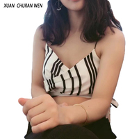 XUANCHURANWEN Ladies Summer Wrap Cross Crop Tops Spaghetti Strap Top Striped Lace Up V Neck Camis