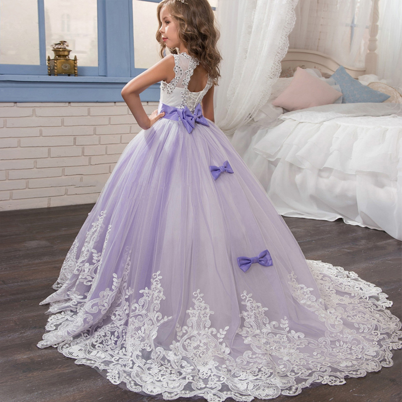 Trail Flower Girl Dress Sleeveless Tulle Lace Dress Long Wedding Bridesmaid Formal Pageant Ball Gown Big Bow Kids Dresses formal bridesmaid dress women halter wedding party gown chiffon long bridesmaid dresses 2018