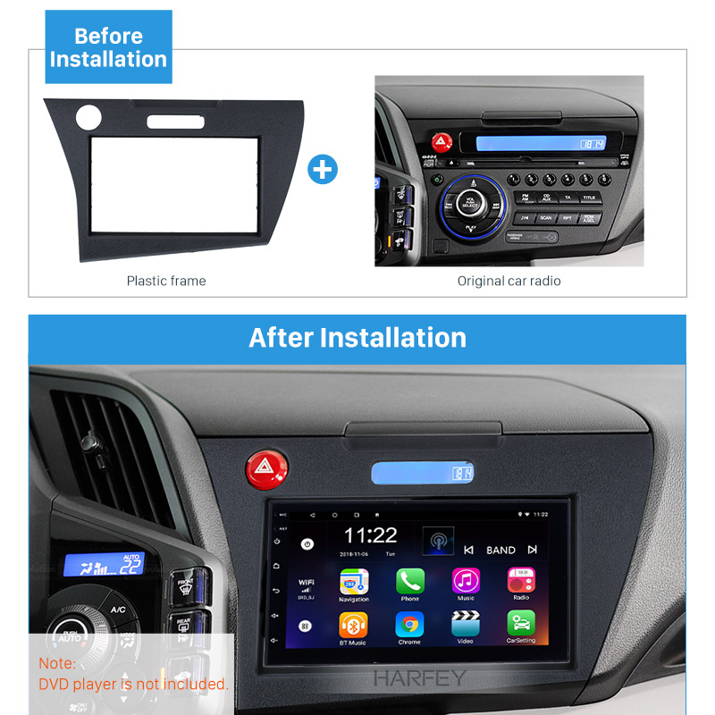 Harfey Car Radio Player Fascia Mount 2Din for <font><b>Honda</b></font> <font><b>CRZ</b></font> LHD 2010+ DVD <font><b>GPS</b></font> CD Decorative Frame Dash Trim Bezel Install Mount Kit image