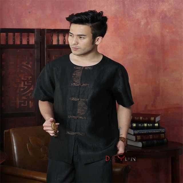 New Chinese Traditional Men's Silk Kung Fu Tops Shirt Classic Single Breasted With Pocket Tang Suit Size M L XL XXL XXXL 4XL