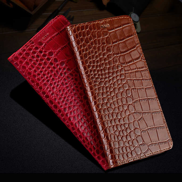Natural Genuine Cow Leather Cover Case For Samsung Galaxy J3 Pro / J3 2016 J3110 Crocodile Grain Flip Stand Phone Cover Case