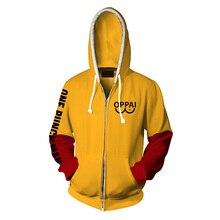 Anime One Punch Man Hoodie Saitama Oppai Sensi Print Casual Hooded Sweatshirt Thin Zipper Coat Outerwear