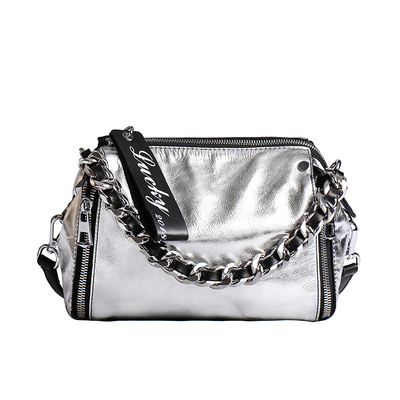 2019 Silver Chain Design Women Top Handle Satchel Handbag 100 Genuine Leather Female Shoulder Bag Crossbody