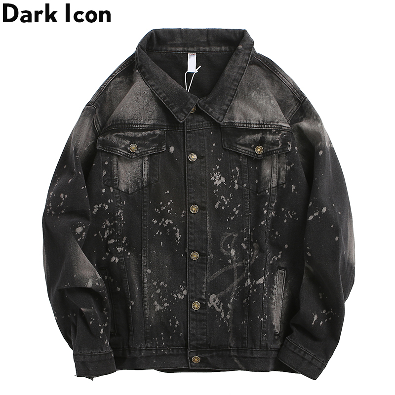 Dark Icon Foil Painting Splatter Denim Jacket Men Turn-down Collar Mens Streetwear Clothes