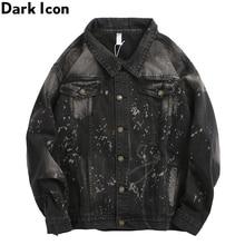 Dark Icon Foil Painting Splatter Denim Jacket Men Turn-down Collar Mens Streetwear Clothes