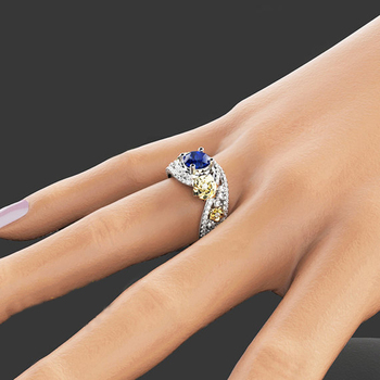 Gold Rose & Sapphire Blue Ring 3