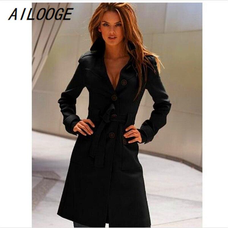 934e38cebb AILOOGE Black Trench Coat Women Coat Plus Size Single Breasted Solid Slim Winter  Coat Long Sleeve Adjustable Waist White Jackts