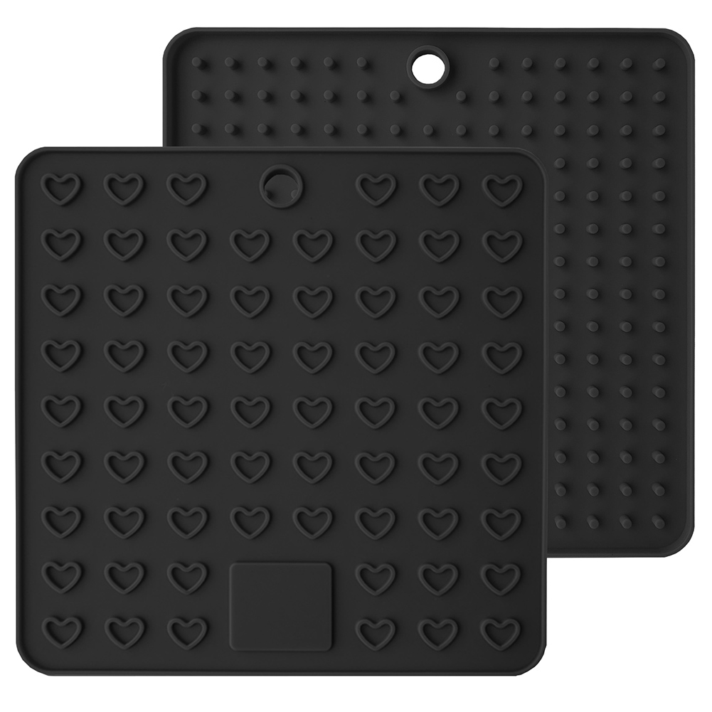 2 Pcs Heart-shaped Multi-Function Drying Drainer Mat Thick Silicone Anti-scalding Anti-fouling Pad E2S(China)
