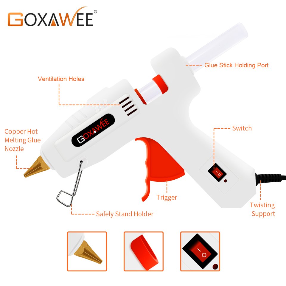 Image 2 - GOXAWEE 34pcs Hot Melt Glue Gun Set Mini Electric Professional DIY High Temp Heat Melt Repair Tool With Hot Melt Glue Sticks-in Glue Guns from Tools on