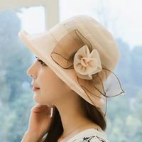 High End Classic Summer Female Cute Folding Beach Outdoor Sun Hat Lady Organza Flower Bowknot Bow