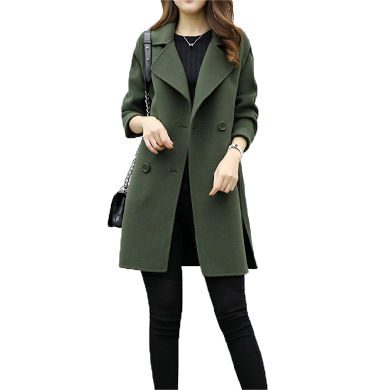 Women's Woolen Coat New Fashion Long Loose Double-breasted Slim Type Female Autumn Winter Warm Wool  blends