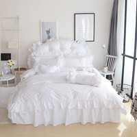 4/3Pcs 100% Cotton Beige White color kids girls Bedding set king queen twin size bedsheet set duvet cover Pillowcase