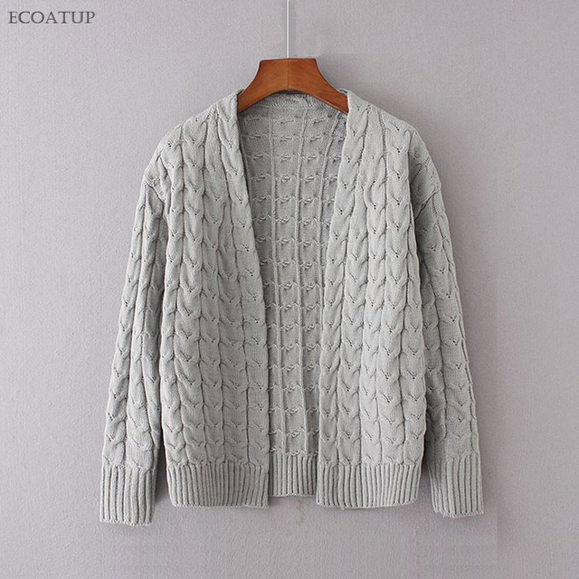 Crossing Cable Knit Cardigan Women 2017 Vintage Twist Pattern Open