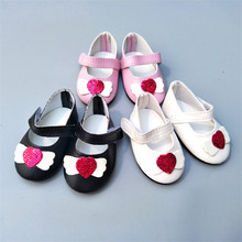 New Fashion Baby  Doll Shoes Sequins Heart Style Leather Fits 43 cm Dolls and 18 United States Girl