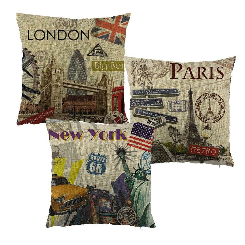 City style london / paris / ÚJ YOUK nyomtatott párnahuzat vászon / - Lakástextil