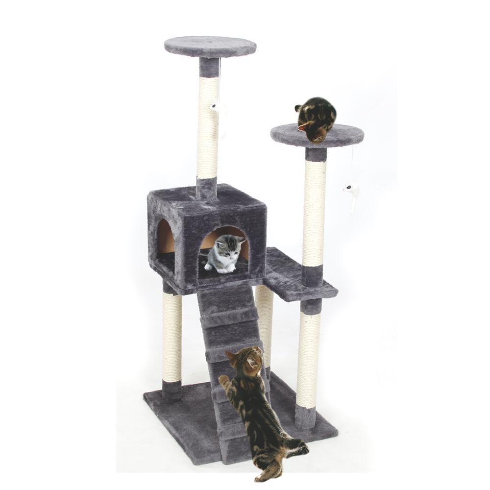RU Local deivery Cat Toy Scratching Wood Climbing Tree Cat Jumping Toy with Ladder Climbing Frame Cat Furniture Scratching Post