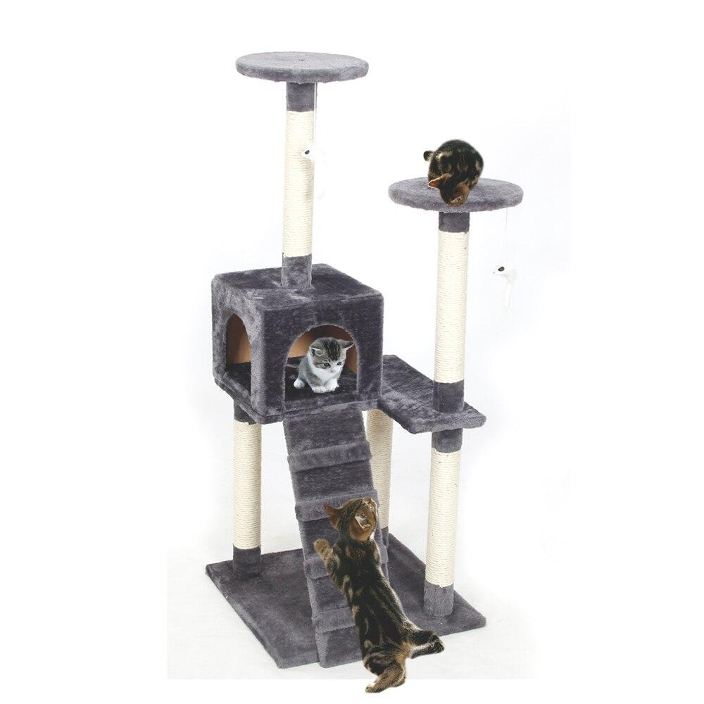RU местного deivery Cat игрушка царапин дерево восхождение на дерево кошка прыжки игрушка с лестницы лазалки кошка Мебель когтеточка