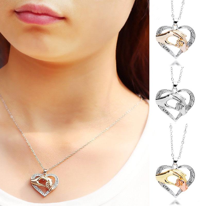 LNRRABC Hot 1 Pc Unisex Women Men Heart Rhinestones Pendant Holding Hands Family Love Moms Gift Jewelry