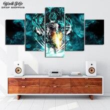 Произведение искусства, Декор настенный 5 шт. HD принт Жемчуг дракона супер Гоку и Вегета плакаты, постеры на холсте стены Искусство для украшения дома