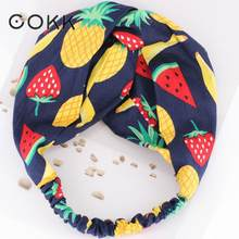 COKK Hairband Hair Accessories For Women Children Girls Fruit Print Headband Turban Hair Scarf Knot Cross Heanddress Hair Band(China)