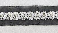 5yard 5.2cm Craft Black Gauze Fake Pearls Sequins Rhinestone BeadsDecorated Lace Ribbon Trim For Dress Wedding Clothes Trim t251