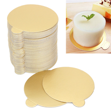 100pcs/Set Round Mousse Cake Boards Gold Paper Cupcake Dessert Displays Tray Wedding Birthday Cake Pastry Decorative Tools Kit