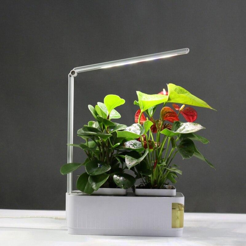 Inteligentne kwiat pot Herb zestaw ogrodowy LED rosną światła hydroponicznych uprawy wielofunkcyjne biurko lampa rośliny ogrodowe kwiat hydroponika