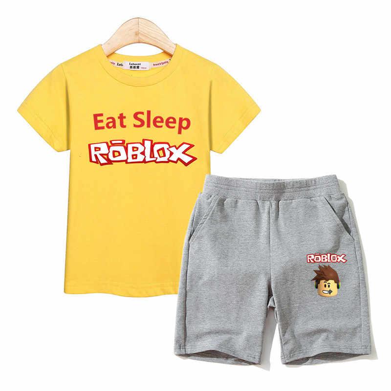 d78f91a9 ... Eat sleep kids Roblox costume baby boy set t-shirt +pant 2 pcs sets ...