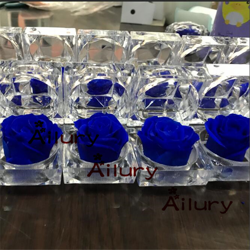 6pcs lot 4 8 4 8cm Preserved flower ring box immortal colorful roses BLUELOVER gift to