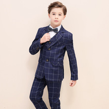 Boys Plaid Blazer Vest Pants 3pcs Tuxedo Kids Flower Formal Suits for Weddings H458