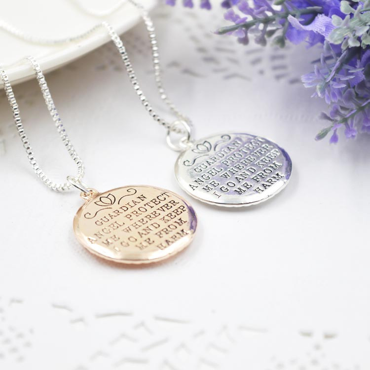 GUARDIAN ANGEL PROTECT ME WHEREVER I GO AND KEEP ME FROM HARM Double-faced Guardian Angel Pendant Necklace collar collier